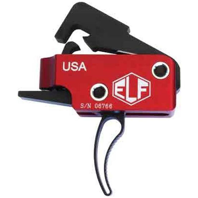 Elftmann Tactical AR-10/.308 Trigger Curved Drop-In Adjustable Red/Black AR10-C