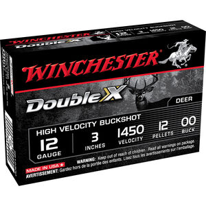 "Winchester Supreme 12 Gauge Shotshell 5 Rounds, 12 Pellets, #00 Buckshot, 3"""