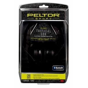 Peltor Sport Tactical 500 Electronic Earmuffs 26dB Noise Reduction Rating Bluetooth Wireless Technology Matte Black
