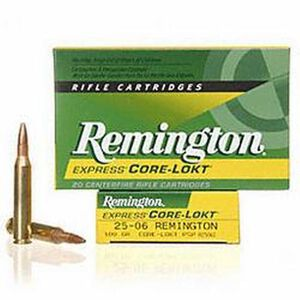 Remington Express .25-06 Remington Ammunition 20 Rounds 100 Grain Core-Lokt PSP Soft Point Projectile 3230fps