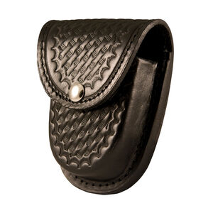 Boston Leather 5514 Rounded Bottom XL Handcuff Case Brass Snap Leather Basket Weave Black 5514-3-B