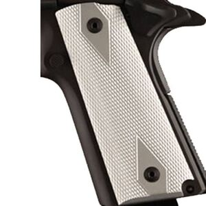 """Hogue Colt 1911 Government/Commander Thin Grips 3/16"""" Aluminum Checkered Brushed Gloss 01475"""