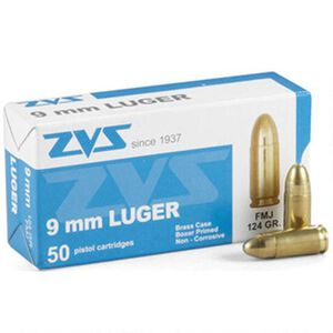 Century International ZVS 9mm Luger Full Metal Jacket, 124 Grain, 1280 fps, 50 Round Box