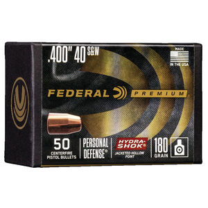 "Federal Hydra-Shok Bullets .40/10mm Caliber .400"" Diameter 180 Grain Hydra-Shok Jacketed Hollow Point Projectile 50 Count Per Box"