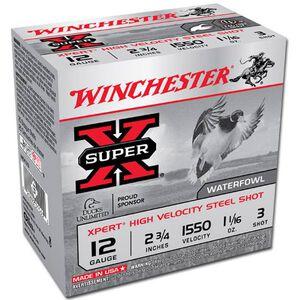 "Winchester 12 Gauge Ammunition 25 Rounds 2.75"" #3 Steel Shot 1.0625 oz."