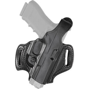 Aker Leather 168 FlatSider Slide XR12 GLOCK 19/23/32 Belt Holster Right Hand Leather Plain Black H168BPRU-GL1923