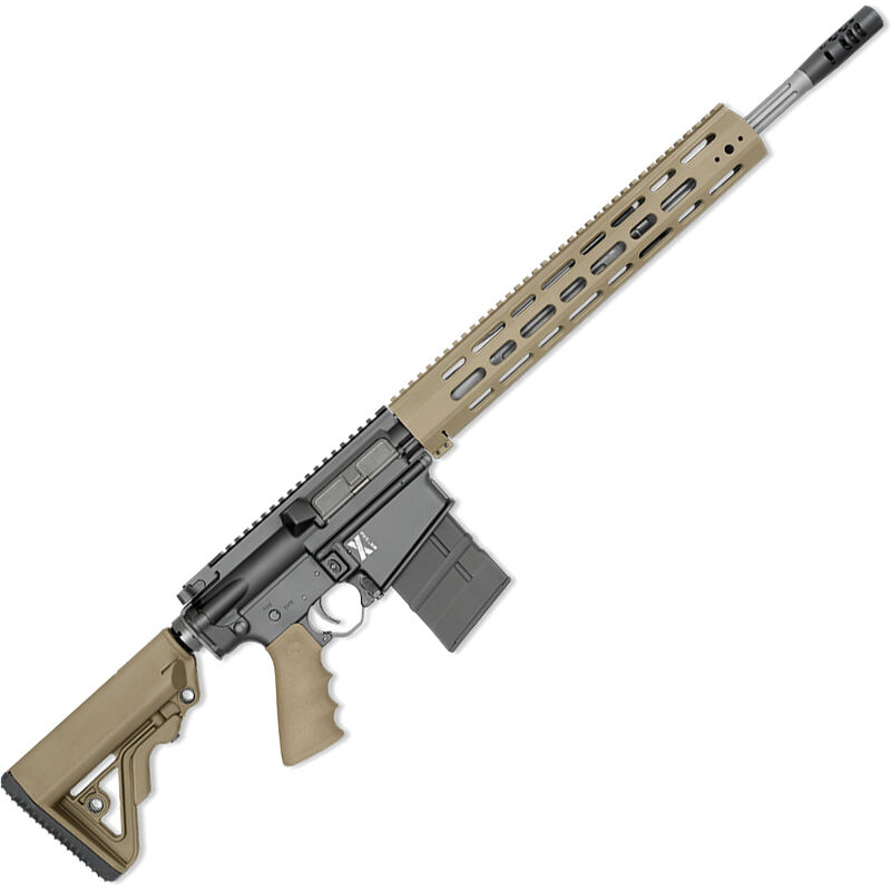 """Rock River Arms X-Series X-1 .308 Win AR-308 Semi Auto Rifle 18"""" Fluted Stainless Barrel 20 Rounds Free Float Handguard Collapsible Stock Tan/Black"""
