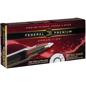Federal Nosler AccuBond .300 RUM Ammunition 20 Rounds 180 Grain Nosler AccuBond PT BT 3100fps