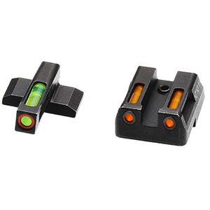 HiViz Litewave H3 Tritium/Litepipe fits HK VP/P30/HK45 Models Green Front Sight with Orange Front Ring/Orange Rear Sight Steel Housing Matte Black