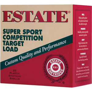 "Estate Cartridge Super Sport Competition Target Load 12 Gauge Ammunition 2-3/4"" Shell #8 Lead Shot 1oz 1180fps"