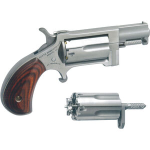 """North American Arms Sidewinder Single Action Revolver .22 WMR/.22 LR 1"""" Barrel 5 Rounds Wood Grips Stainless Finish NAA-SWC"""