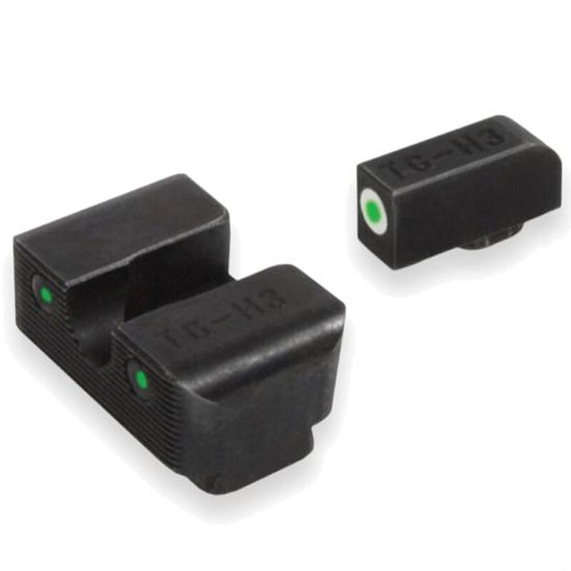 TruGlo Brite Site Tritium Pro HK VP9/VP40/P30/HK45 Front/Rear Night Sight Set Green Tritium 3-Dot Configuration Front White Focus Lock Ring Steel Black