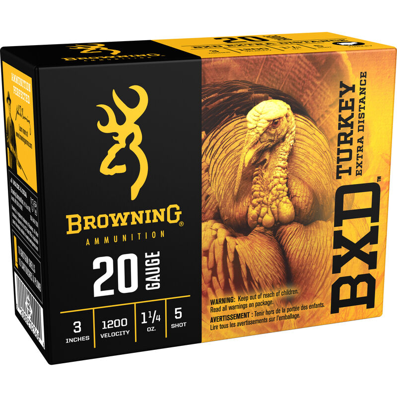 "Browning BXD Turkey 20 Gauge Ammunition 10 Rounds 3"" #5 Plated Lead 1-1/4 Ounce B193912035"
