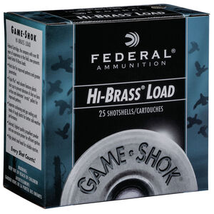 "Federal Game Shok Upland Hi-Brass Load 12 Gauge Ammunition 2-3/4"" #4 Lead Shot 1-1/4 Ounce 1330 fps"