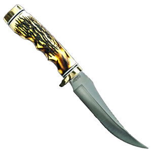"""Uncle Henry """"Golden Spike"""" Fixed Knife 5"""" Plain Clip Point Satin Finish Stainless Steel Blade Staglon Handle with Leather Sheath"""