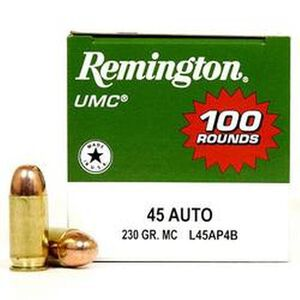 Remington .45 ACP UMC Ammunition 100 Rounds, MC, 230 Grains