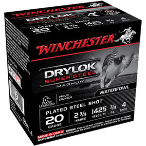 "Winchester Drylok Super Steel 20 Gauge Ammunition 25 Round Box 2-3/4"" #4 Plated Steel Shot 3/4 oz 1425 fps"