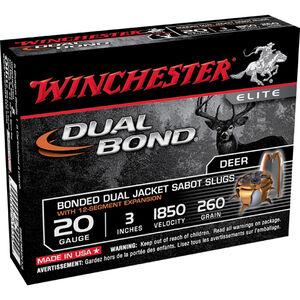 "Winchester Dual Bond 20 Gauge Ammunition 5 Rounds 3"" Sabot Slug 260 grains 1850fps"