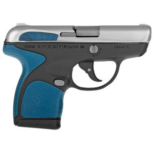 """Taurus Spectrum Semi Auto Pistol .380 ACP 2.8"""" Barrel 6/7 Round Magazines Low Profile Fixed Sights Stainless Steel Slide/Polymer Frame Black/Blue Accents"""