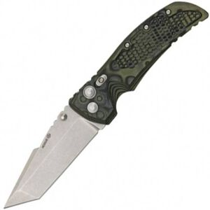 "Hogue Elishewitz EX-01 Folding Knife 4"" Plain Edge Tanto Point 154CM Stainless Steel Blade Green G10 G-Mascus Handle 34148"
