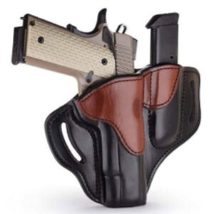 """1791 Gunleather Open Top BH1M1 Multi-Fit OWB Holster With Built in Magazine Pouch for 5"""" 1911 Semi Auto Models Right Hand Draw Leather Black/Brown"""