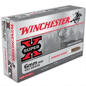 Winchester Super X 6mm Rem Ammunition 200 Rounds, PP, 100 Grains