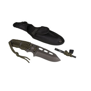 "5ive Star Gear T2XL Survival Paracord Knife 3.625"" Fixed Blade Drop Point Plain Sheath Paracord Handle Titanium Coated 420 Stainless Steel Olive Drab/Satin"