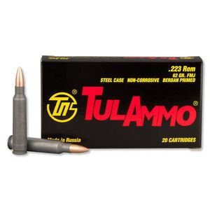TulAmmo .223 Remington Ammunition 20 Rounds Steel Case FMJ 62 Grains TA223620