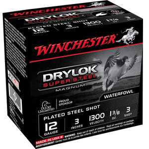 "Winchester Drylok Super Steel 12 Gauge Ammunition 3"" #3 Plated Steel Shot 1-3/8 oz 1300 fps"
