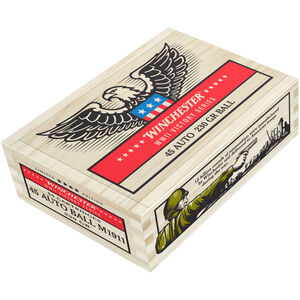 Winchester Victory Series .45 ACP Ammunition 50 Rounds 230 Grain M1911 Ball FMJ 855fps WWII Collector Wooden Box