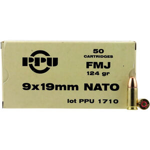 Prvi Partizan PPU Mil-Spec 9x19mm NATO Ammunition 50 Rounds 124 Grain FMJ 1263fps