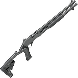 """Remington 870 Police 12 Gauge Pump Action Shotgun 18"""" Barrel 3"""" Chamber 6 Rounds Ghost Ring Sights Collapsible Pistol Grip Stock Black Parkerized Finish"""