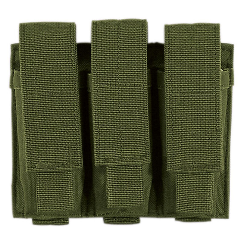 Voodoo Tactical Triple Pistol Magazine Pouch MOLLE Compatible Nylon OD Green MS-20-7976-OD