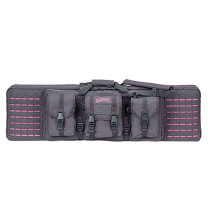 """Voodoo Tactical 42"""" Padded Weapons Case With Die Cut MOLLE Gray with Pink Stitching"""