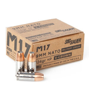 SIG Sauer M17 Military Grade Elite V-Crown Ammunition 20 Rounds 9mm Luger +P 124 Grain V-Crown Jacketed Hollow Point Projectile 1198fps