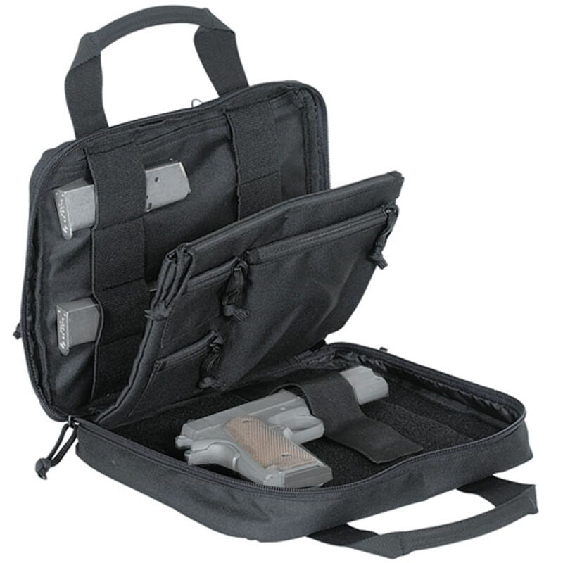 """Voodoo Tactical Custom Series Pistol Case 10""""x12""""x2"""" 900D Poly Fabric Black with Gray"""