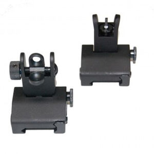 Guntec AR-15 Spring Assisted Low Profile Back Up Iron Sight Set Same Plane Height Aluminum and Steel Black