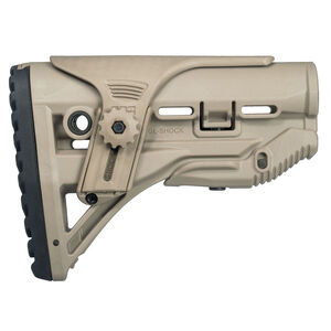 FAB Defense AR-15 Shock Absorbing Buttstock with Cheek Rest Mil-Spec and Commercial Tubes Polymer FDE