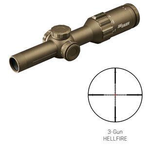 SIG Sauer Tango6T 1-6x24 Riflescope Illuminated Hellfire 3 Gun Reticle 30mm Tube .20 MRAD Adjustments Fixed Parallax Second Focal Plane CR2032 Battery FDE