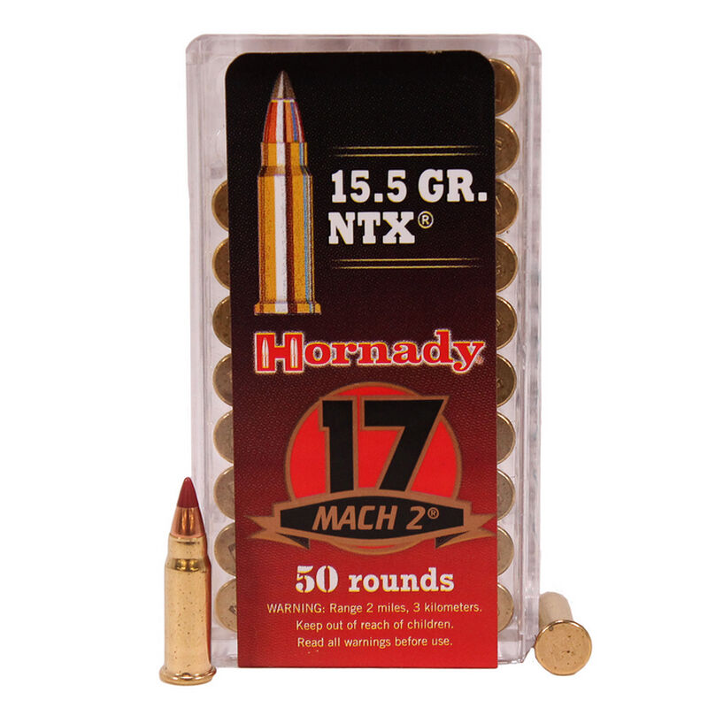 Hornady Varmint Express .17 Hornady Mach 2 (HM2) Ammunition 50 Rounds 15.5 Grain NTX Polymer Tip Projectile 2050fps
