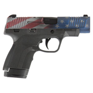 "Honor Defense Honor Guard Compact Semi Auto Pistol 9mm Luger 3.8"" Barrel 7/8 Round Magazine Snag Free Sights Compact With Long Slide/Short Frame US Flag Slide/Matte Black Finish"
