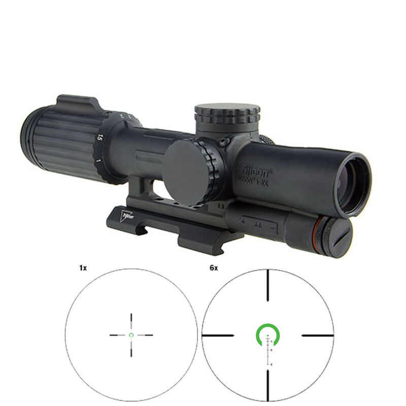 Trijicon VCOG 1-6x24 Scope Green Horseshoe Dot Crosshair For .223 Remington 55 Grain With Quick Release Mount Black