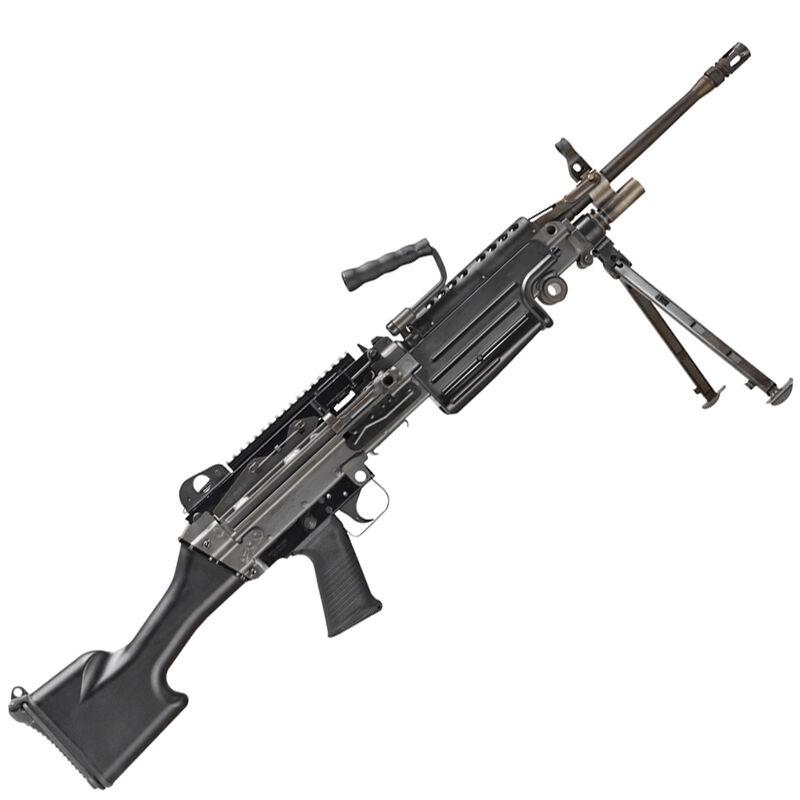 "FNH USA M249S Belt/Magazine Feed Semi Auto Rifle 5.56 NATO 18.5"" Barrel Picatinny Rail Folding Bipod Fixed Stock Matte Black"