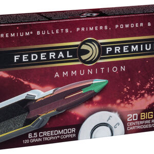 Federal Trophy Copper 6.5 Creedmoor Ammo 120-Grain 20 Round Box Lead-Free P65CRDTC1