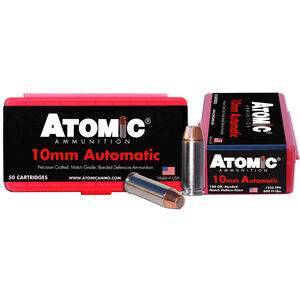 Atomic 10mm Auto Ammunition 50 Rounds 180 Grain Bonded Match Hollow Point 1225fps