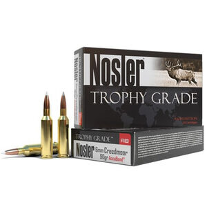Nosler Trophy Grade 6mm Creedmoor Ammunition 20 Rounds 90 Grain AccuBond Bullet 3200 fps