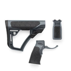 Daniel Defense AR-15 Furniture Kit Buttstock/Pistol Grip/M-LOK Vertical Foregrip Combo Mil-Spec Diameter Compatible Polymer Tornado Gray Finish