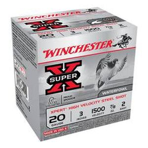 "Winchester Super-X 20 Ga 3"" #2 Steel .875oz 25 Rounds"
