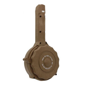 Iver Johnson 50 Round Drum Magazine Fits GLOCK 17/19/26/34 9mm Luger Double Stacked Models Polymer Construction Tan