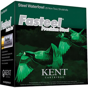 "Kent Cartridge Fasteel Waterfowl 12 Gauge Ammunition 3-1/2"" Shell #BBB Precision Steel Shot 1-3/8oz 1550fps"